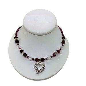 Jewelry - Crystal and rhinestone heart necklace